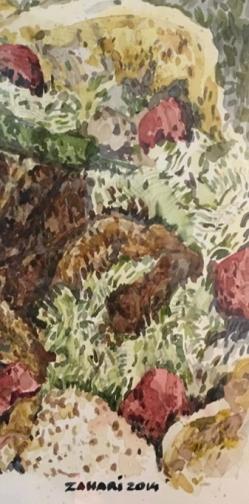 """Zahari Hamidon, """"Kebab"""", 2014, Watercolor, Private Collection"""