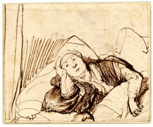 Artist: Rembrandt  (1606–1669) Title: A Woman Lying awake in Bed Medium: Pen and brown ink on paper Year:Between circa 1635 and circa 1640