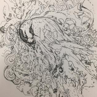Artist: Zahari Hamidon Title: Burung Bayan 1 Medium: Pen and Ink on paper Copyright © Zahari Hamidon 2019